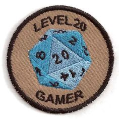 Getting this for Alan.  Oh yes. - HB Level 20 Gamer D Merit Badge Patch. $9.00, via Etsy.