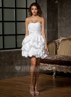 A-Line/Princess Sweetheart Short/Mini Taffeta Wedding Dress With Ruffle Beading Flower(s) (002011550)