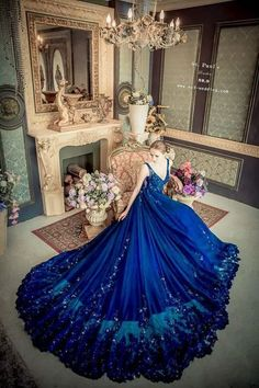 This stunning starry night blue gown from Wedding featuring glamourous details is taking our breath away! : This stunning starry night blue gown from Wedding featuring glamourous details is taking our breath away!