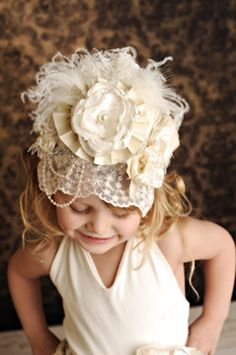 Ivory Lace Birthday Crown Bonnet with pearls by CozetteCouture, $43.99