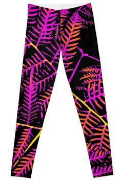 'Purple, Orange & Yellow Bracken' Leggings by Moonshine Paradise #redbubble #nature #art #photography #leggings