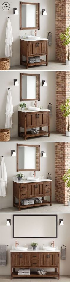 Morris Console Double Vanity for Rectangular Undermount Sinks Rustic Chic, Rustic Decor, Basement Master Bedroom, Ideal House, Industrial Farmhouse, Bathroom Renos, Bathroom Inspiration, Organizations, Future House