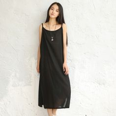 [To Gladself] Women 2018 Summer Fashion Casual Cotton Linen Loose Oversized Basic Sleeveless Spaghetti Strap Tank Midi Dress-in Dresses from Women's Clothing & Accessories on Aliexpress.com | Alibaba Group