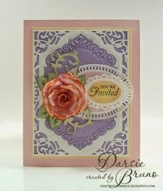 pretty card using Spellbinders Divine Eloquence, Elegant Ovals. Although, technically not corner dies, the Devine Eloquence has built in cut out corners. Spellbinders Cards, Stampin Up Cards, Pretty Cards, Cute Cards, Memory Box Cards, Pastel Roses, Die Cut Cards, Mothers Day Cards, Paper Cards