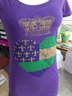 Fleurty Girl - Everything New Orleans - Mardi Gras Heart and Crown Tee, $25.