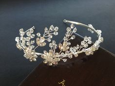Glass Bead and Rhinestone Wedding Headband, Bridal Hair Accessories, Wedding Headpiece, Tiara