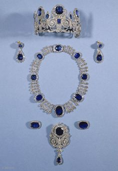 Sapphire and Diamond Parure; 19th Century, Paris. This jewellery was modified over time to the tastes of Queen Hortense, Queen Marie-Amélie, and Isabelle of Orleans. It remained in the Orleans family until 1985.