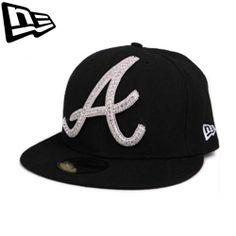 59FIFTY NEW ERA Atlanta Braves Black Big One Iced Up Swarovski Collabo Limited #Fashion #Style #Deal