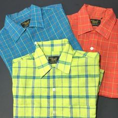 Sears Perma Prest Mens Shirts Lot of 3 Short Sleeve Vintage M Rockabilly Plaid #Sears #ButtonFront #Casual