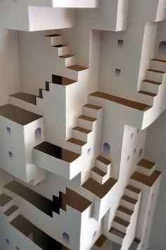 紙工作 Art Optical, Optical Illusions, Kirigami Templates, Paper Art, Paper Crafts, Paper Structure, Isometric Drawing, Paper Engineering, Mc Escher
