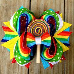 Rainbow Hair Bow Clip Girl HairBow by cococamila on Etsy, $10.00