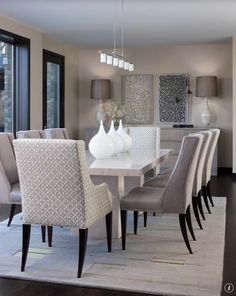 Cozy White Kitchen Table And Chairs: Contemporary Dining Room White Dining  Table With Tabletop White Vases Lamp On The Side Table Gray Leather Chairs  ...