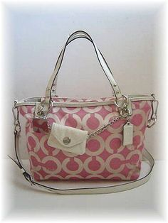 Coach Fuchsia - White Signature C Op Art Charm Tote Bag Handbag Style 14841