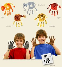 Hand Print Animals great for a zoo trip Safari Crafts, Jungle Crafts, Vbs Crafts, Preschool Crafts, Safari Theme, Jungle Theme, Jungle Safari, Hand Print Animals, Art For Kids