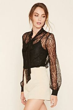 A sheer knit top featuring an allover floral embroidered lace, a self-tie neck, long button-cuff sleeves, and a button front. Sheer Shirt, Sheer Blouse, Neutral Tops, School Fashion, Skirt Outfits, Asian Fashion, Blouses For Women, Fashion Outfits, Forever 21