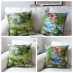 18*18'' Tropical Style Suede Cushion Cover - Green Colorful Palm Leaves