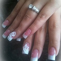 3D flower on pink and white nail