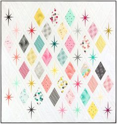 """The Atomic Starburst Quilt is made by combining foundation paper pieced Starburst blocks with traditional piecing for a vibrant, mid-century modern quilt. Fabric used on cover is Palm Canyon by Violet Craft for Robert Kaufman Fabrics. Finished Quilt: 62"""" x 66"""" Instructions assume a basic"""