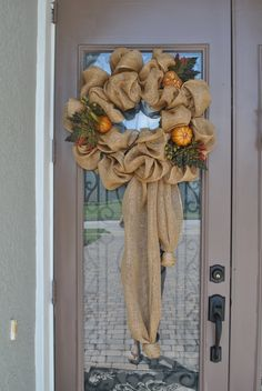Burlap Fall Wreath by ABobbinnapaintbrush on Etsy Burlap Projects, Burlap Crafts, Wreath Crafts, Wreath Burlap, Diy Wreath, Deco Mesh Wreaths, Holiday Wreaths, Holiday Crafts, Fall Crafts