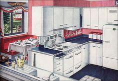 Americana Kitchen, Country Kitchen, 1940s Kitchen, Vintage Kitchen, Retro Kitchens, Retro Appliances, 1940s Home, Retro Home, 1940s Decor
