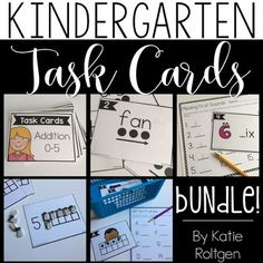 Kindergarten Task Card Bundle - This download includes 32 task card packs. Math and literacy activities are included. Counting, addition, ten frames, subtraction, missing numbers, shapes, CVC words, short vowels, long vowels, rhyming, and MANY MORE downloads are included. Click through to see how you can use these with your kinder students.
