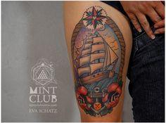 Isabella. www.mintclubtattoo.com #evaschatz #tattoo #mintclubtattoo #sailship #water #rose #sailor
