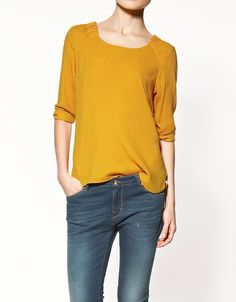 Zara Top with Gathered Collar in Yellow (mustard) | Lyst