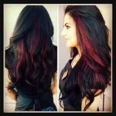 Black hair with red streaks
