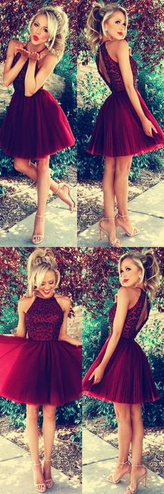Burgundy Homecoming Dresses A-line Beaded Halter Prom Short Dresses Luxurious Cocktail Dress