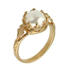 Victorian Freshwater Cultured Pearl Engagement Ring in 14k Rose Gold