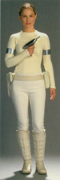 Padme Amidala-Costume Geonosis -   Thinking on some easy Haloween costume. My hair dry machine looks similar then her laser gun.  Also I have a withe yoga leggings with shirt.  I think i still have a silver camera-tape for the last shooting. Some whit plastic stuff for the kitchen will be good for the bell. Only thing that i have to buy is a white wellingtons.