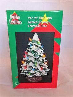 "Holiday Traditions 12.5"" Lighted Ceramic Christmas Tree Plastic Bulbs Has Box"