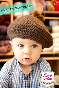 cute little boy in brown beret Crochet Baby Poncho, Crochet Beret, Crochet For Boys, Knitted Hats, Loom Knitting, Baby Knitting, Knitting Projects, Crochet Projects, Kids Hats