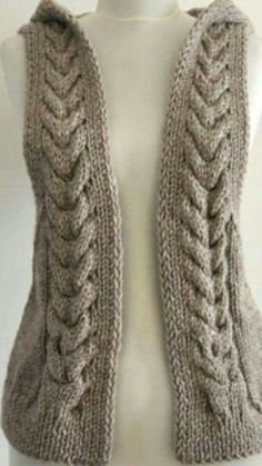 Crocheted vest w/hoodie Lace Knitting, Knitting Stitches, Bralette Pattern, Knitting Patterns, Crochet Patterns, Fusion Beads, Beading Techniques, Crochet Fashion, Crochet Clothes