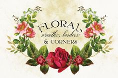 This is a collection of lovely vintage florals that have been used to create wreaths, borders and corners that will add a vibrant splash to your design project. The individual pieces can also be combi