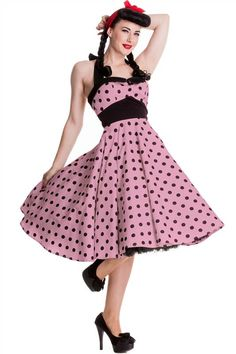 Hell Bunny Adelaide Pink Polka Dot 50's Dress