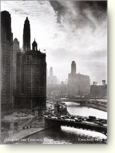 Chicago skyline, 1929. (Chicago Pin of the Day, 12/10/2014).