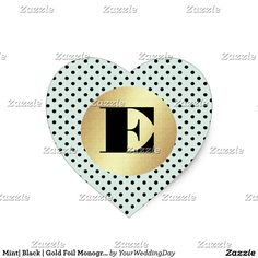 Heart Shape Mint | Black | Gold Foil with polka dot background Simple and Elegant design Wedding Stickers with Custom Monogram. Matching Wedding Invitations, Bridal Shower Invitations, Save the Date Cards, Wedding Postage Stamps, Bridesmaid To Be Request Cards, Thank You Cards and other Wedding Stationery and Wedding Gift Products available in the Simple & Elegant Design Category of the yourweddingday store at zazzle.com