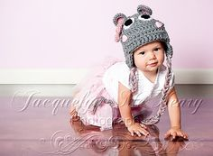 Miss Hippo Beanie in Baby Pink and Gray от mamamegsyarnshoppe