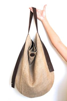 Nacimiento Slouch - Handcrafted Hand Stitched Belgian Linen Organic Cotton Bag Eco Leather Strap
