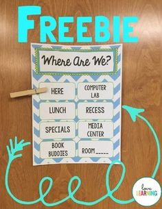 """This printable """"Where Are We?"""" Sign is perfect for your classroom door or bulletin board. Simply edit the text to add your own locations, print, laminate, and hang on your classroom door! You can even assign a student job to move the clip when you leave - they love it!"""