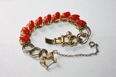 Vintage Bracelet Red Rhinestone Glass 1950s  Jewelry by patwatty, $15.00