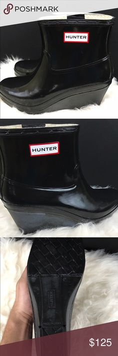 Hunter Aston Womens Sz 10 Rain Boots Wedge Black Glossy black cute hunter rain boots! It will bloom soon! Look it up on hunter boots. It just needs olive oil and a old tshirt! Hunter Shoes Winter & Rain Boots