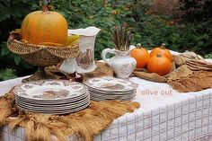 Thanksgiving buffet with brown transferware