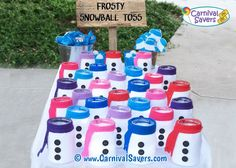 Frosty Snowball Toss Winter Carnival Game - recycle old containers Carnival Games For Kids, Xmas Games, Holiday Games, Christmas Party Games, Kids Party Games, School Carnival, Spy Party, Carnival Ideas, Diy Games