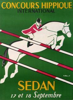 sedan concours hippique international : 1955 affiches anciennes de VILLEMOT Bernard