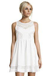 Boutique Phoebe Chevron Mesh And Lace Dress