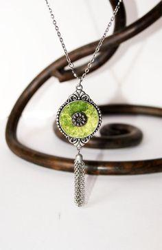 Grassy Light Green Wool Silk Pendant. Gift 35 by elenasfelting, $35.00