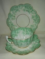LOVELY ANTIQUE SHELLEY FOLEY WILEMAN TRIO: CUP, SAUCER & PLATE GREEN & GOLD #938
