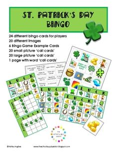 A little fun for St. Patrick's Day!This 21 page pack includes:24 different Bingo Cards (20 various images)20 small picture 'call cards' 2...